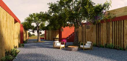 PATIO: Casas de campo de estilo  por PROMENAD ARQUITECTOS