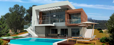 J44: Casas unifamilares de estilo  de Estudio de Arquitectura e Interiorismo  José Sánchez Vélez. 653773806