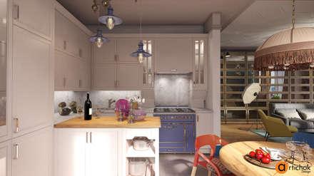 Дизайн интерьера кухни-студии в светлых цветах: Встроенные кухни в . Автор – Art-i-Chok
