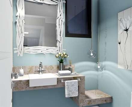 Lavabo delicado: Casas de banho ecléticas por Trivisio Consultoria e Projetos em 3D