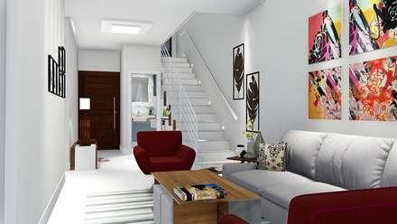 Casa compacta e completa: Escadas  por Trivisio Consultoria e Projetos em 3D