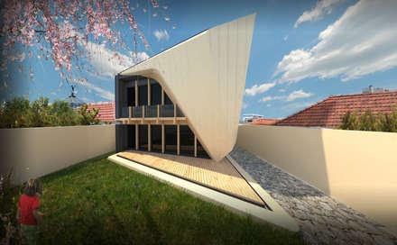 PT_Alçado tardoz   EN_ Back Elevation: Casas unifamilares  por Office of Feeling Architecture, Lda