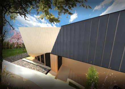 PT_ Alçado Esquerdo EN_  Left Elevation: Casas unifamilares  por Office of Feeling Architecture, Lda