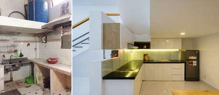 Hình ảnh ngôi nhà trước và sau khi cải tạo.:  Bếp xây sẵn by Công ty TNHH Xây Dựng TM DV Song Phát