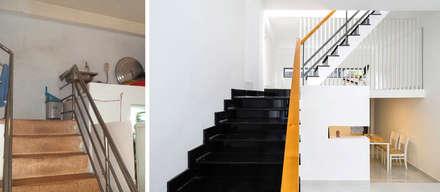 Tầng lửng của ngôi nhà phố này đều được thay đổi để phù hợp hơn.:  Cầu thang by Công ty TNHH Thiết Kế Xây Dựng Song Phát