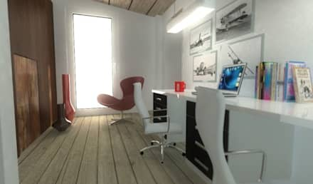 Estudio: Estudios y despachos de estilo ecléctico de Habitaka diseño y decoración