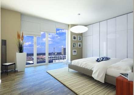 Wohnen im Ausnahmeobjekt PRAEDIUM in Frankfurt: industriale Schlafzimmer von JLL Residential Development