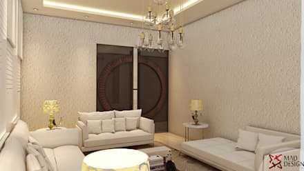 5BHK PROJECT @PRATEEK STYLOME BY MAD DESIGN: minimalistic Living room by MAD DESIGN