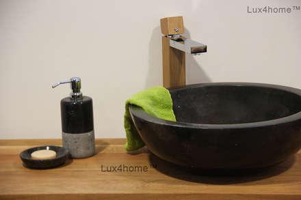 Black marble bathroom sink - black washbasin: mediterranean Bathroom by Lux4home™ Indonesia