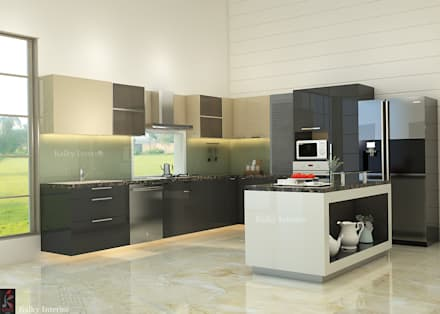 Modular Kitchen With Island: Built In Kitchens By Kalky Interior
