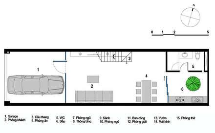 Mẫu Thiết Kế Nhà Ống 3 Tầng Mặt Tiền 5m Hướng Tây Chắn Nắng:  Nhà gia đình by Công ty TNHH Xây Dựng TM – DV Song Phát