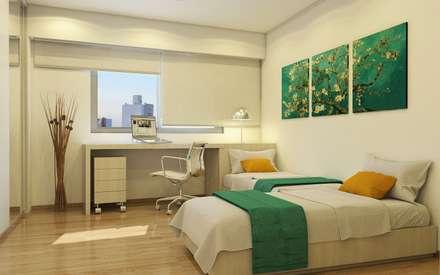 Arcadia 5: Dormitorios de estilo moderno por Arcadia Arquitectura