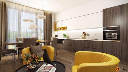 Белые и коричневые кухонные фасады - дизайн кухни в современном стиле: Встроенные кухни в . Автор – Art-i-Chok