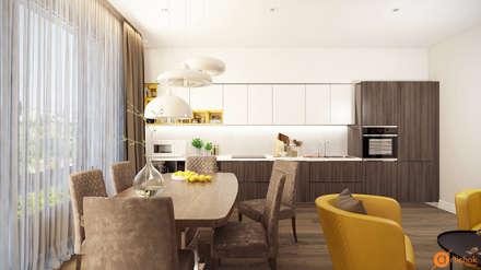 Оригинальный дизайн интерьера кухни в белом, коричневом и желтом цветах: Встроенные кухни в . Автор – Art-i-Chok