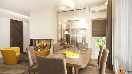 Интерьер кухни с яркими желтыми акцентами и камином: Встроенные кухни в . Автор – Art-i-Chok
