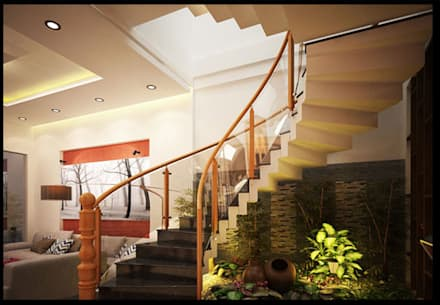 Tư Vấn Thiết Kế Nhà Ống 3 Tầng 1 Tum 5x18m Ở Bình Thạnh:  Cầu thang by Công ty TNHH Xây Dựng TM – DV Song Phát