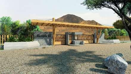 PORTICO ALAMEDAS: Jardines en la fachada de estilo  por PROMENAD ARQUITECTOS