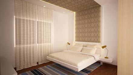 Headboard flowing to ceiling : asian Bedroom by NVT Quality Build solution