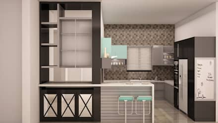 Display unit and breakfast table: rustic Kitchen by NVT Quality Build solution