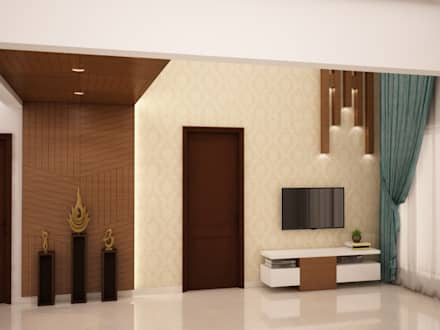 Wall paneling and TV unit:  Walls by NVT Quality Build solution