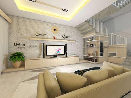 غرفة المعيشة تنفيذ CASA.ID ARCHITECTS