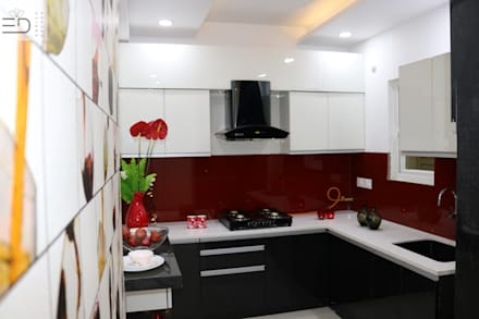 3BHK Aparna Sarovar Grande C Block 2050 sqft Turn Key project:  Kitchen units by Enrich Interiors & Decors
