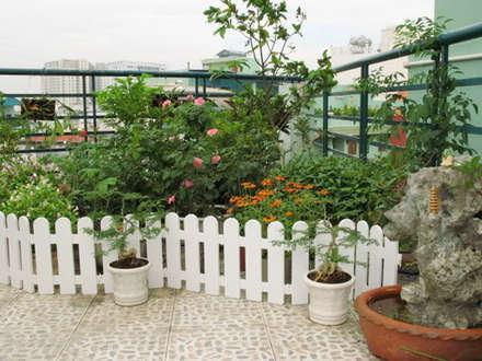 Sân thượng được thiết kế như một công viên thu nhỏ với nhiều loại cây.:  Hiên, sân thượng by Công ty TNHH Xây Dựng TM DV Song Phát