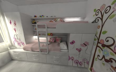 Habitacion de Niñas: Habitaciones para niñas de estilo  por Aida Tropeano & Asoc.