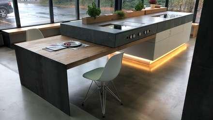 Küche im Industrie Loft Style mit Plattenüberhang und Bora Professional Rev 2.0: industriale Küche von Ebbecke GmbH - excellent einrichten