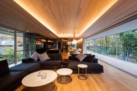 WATER GLASS VILLA: Mアーキテクツ|高級邸宅 豪邸 注文住宅 別荘建築 LUXURY HOUSES | M-architectsが手掛けたリビングです。