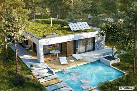 EX 21 G2 soft – dom, który stawia na oszczędną prostotę : styl , w kategorii Dom jednorodzinny zaprojektowany przez Pracownia Projektowa ARCHIPELAG
