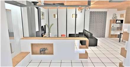Création d'un espace entrée et Réaménagement de l'espace salon / salle à manger: Salon de style de style Industriel par Atelier Créa' Design