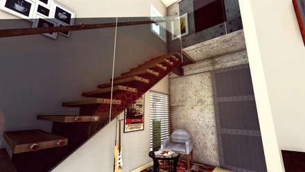 Casa AP: Escaleras de estilo  por Módulo 3 arquitectura