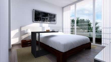 Distribución de Dormitorio : Comedores de estilo minimalista por Estudio Allan Cornejo Arquitecto