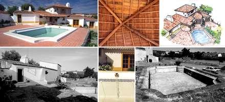 Moradia no Alandroal - Quinta da Glória: Casas de campo  por Pedro de Almeida Carvalho, Arquitecto, Lda