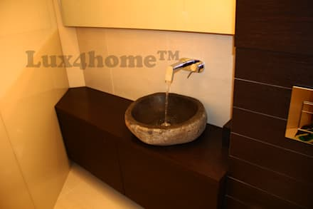 River stone vessel sink bathroom - natural stone sinks: colonial Bathroom by Lux4home™ Indonesia