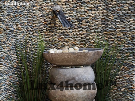 River stone vessel sink bathroom - natural stone sinks:  Terrace by Lux4home™ Indonesia