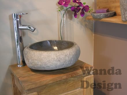 River stone vessel sink bathroom - natural stone sinks: asian Bathroom by Lux4home™ Indonesia