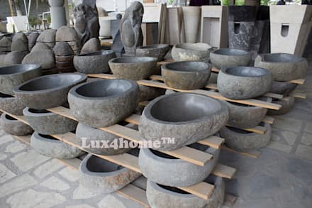 River stone vessel washbasin bathroom - natural stone washbasins: classic Wine cellar by Lux4home™ Indonesia