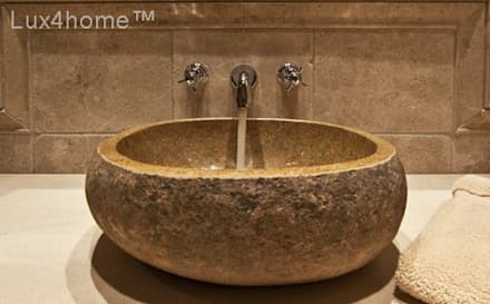 River stone vessel washbasin bathroom - natural stone washbasins: colonial Bathroom by Lux4home™ Indonesia