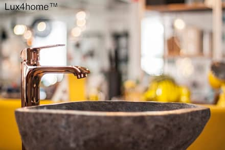 Pebble stone vessel sinks - Natural River Stone sink bathroom: industrial Bathroom by Lux4home™ Indonesia