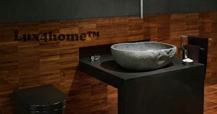 Natural stone basins - River stone bathroom sink: mediterranean Bathroom by Lux4home™ Indonesia