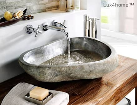 Natural stone basins - River stone bathroom sink: colonial Bathroom by Lux4home™ Indonesia