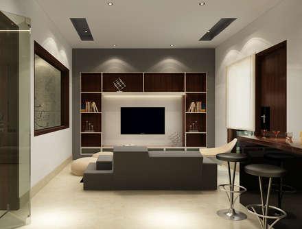 Suneja Residence Interior Design Modern Media Room By Rhomboid Designs