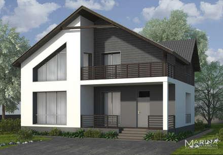 Главный фасад: Дома на одну семью в . Автор – Архитектор-дизайнер Марина Мухтарова