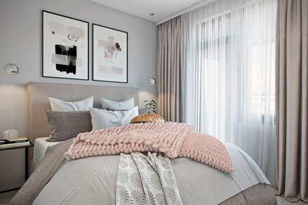 Квартира 41 кв.м. в современном стиле в ЖК Водный.: Спальни в . Автор – Студия архитектуры и дизайна Дарьи Ельниковой