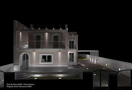 Render di notte: Villa in stile  di Francesca Colelli Architetto