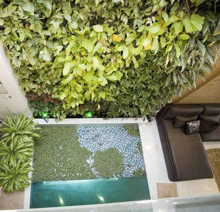 Mảng xanh giúp cho ngôi nhà gần gũi với thiên nhiên.:  Hành lang by Công ty TNHH Thiết Kế Xây Dựng Song Phát