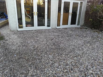 gravel patio using a high quality weedsheet and fresh pearl grey chippings.:  Front garden by Colinton Gardening Services - garden landscaping for Edinburgh
