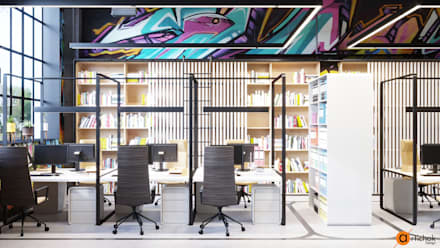 Интерьер офиса с яркими акцентами - идеи дизайна офиса: Офисные помещения в . Автор – Art-i-Chok